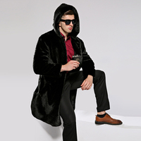 HONGZUO 2017 New Arrival Winter Thick Warm Men Fur Coat Luxury Faux Mink Fur Coat Hooded Artificial Fur Long Jacket Parka PC259