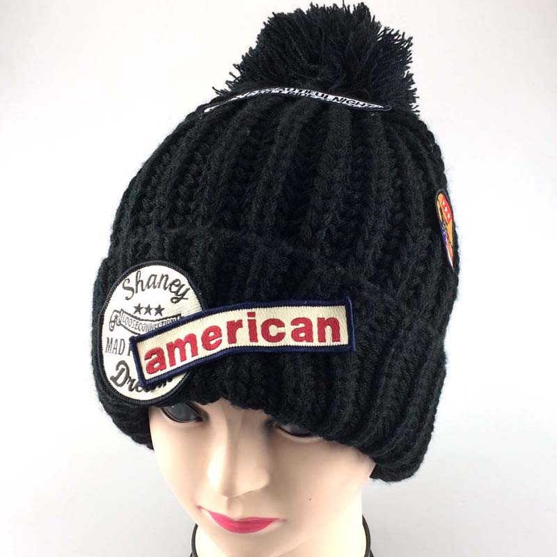2015 New Beanies Women for Hats Patch Letter Winter Pointy Cap Knitted Hat Warm Bonnet Gorros De Lana Knit Cap knitted winter warm female hat rabbit fur beanie cap woman chunky baggy cap skull gorros de lana mujer bonnet femme beanies cap