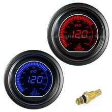 New 2 52mm Oil Temp Gauge Auto Digital Temperature Meter 12V Car Blue & Red LED Light LCD Screen Instrument Black Universal