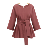 Spring XL 5XL Plus Size Chiffon Shirt Women Blouses Bow Peplum Top Blusas Mujer 3/4 Sleeve Women Blouse Femme Pleated Hemline