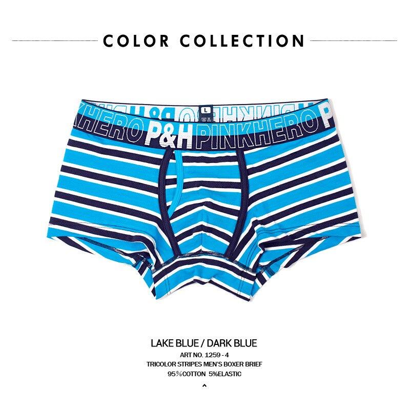 PINK HEROES Comfortable Best Male Underpants Action Stripe Cotton Man Flat Foot Underpants Mens Underwear Boxers Men Boxer