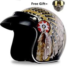 цена на Motorcycle scooter Helmet 3/4 Open Face halmet motocross vintage casque Moto Casque Casco motocicleta Capacete