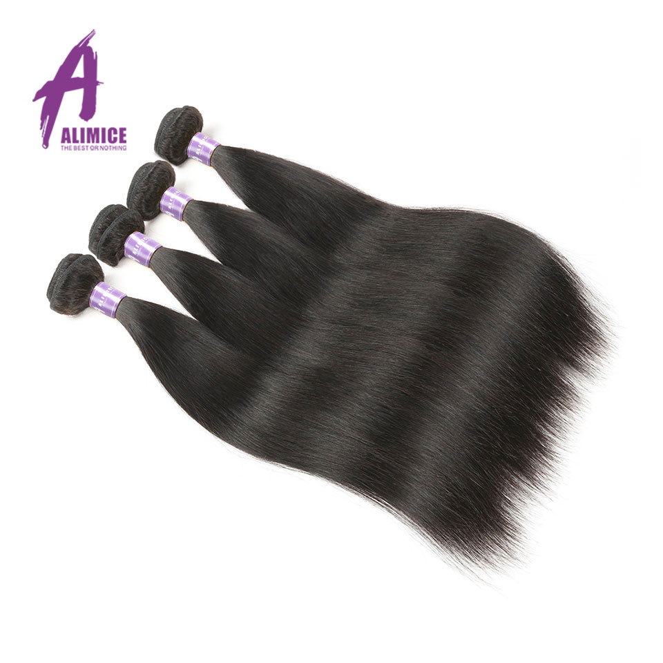 Brazilian Straight Human Hair Weave 4 Bundles Deal Human Hair Weft Non Remy Hair Extensions Natural Color Alimice Hair Weaving