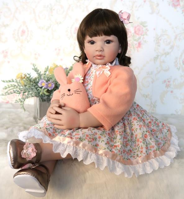 60cm Silicone Reborn Baby Doll Toys For Girl Vinyl Princess Toddler Bebe Bonecas Child Birthday Gift