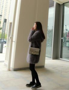 Image 5 - Suéter vintage com capuz feminino, cardigans de caxemira macia e natural com capuz, vison real, wsr336, 2020