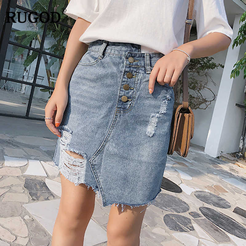 708bbd9313 RUGOD High Waist Package Hip Jeans Skirt Hole Sexy Women 2019 Newest  Fashion Denim Skirt Female