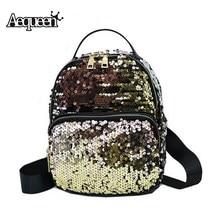 Aequeen Мода 2017 г. Блестки искусственная кожа рюкзак женщины мини-туристические рюкзаки школьные сумки для подростков девочек Mochila