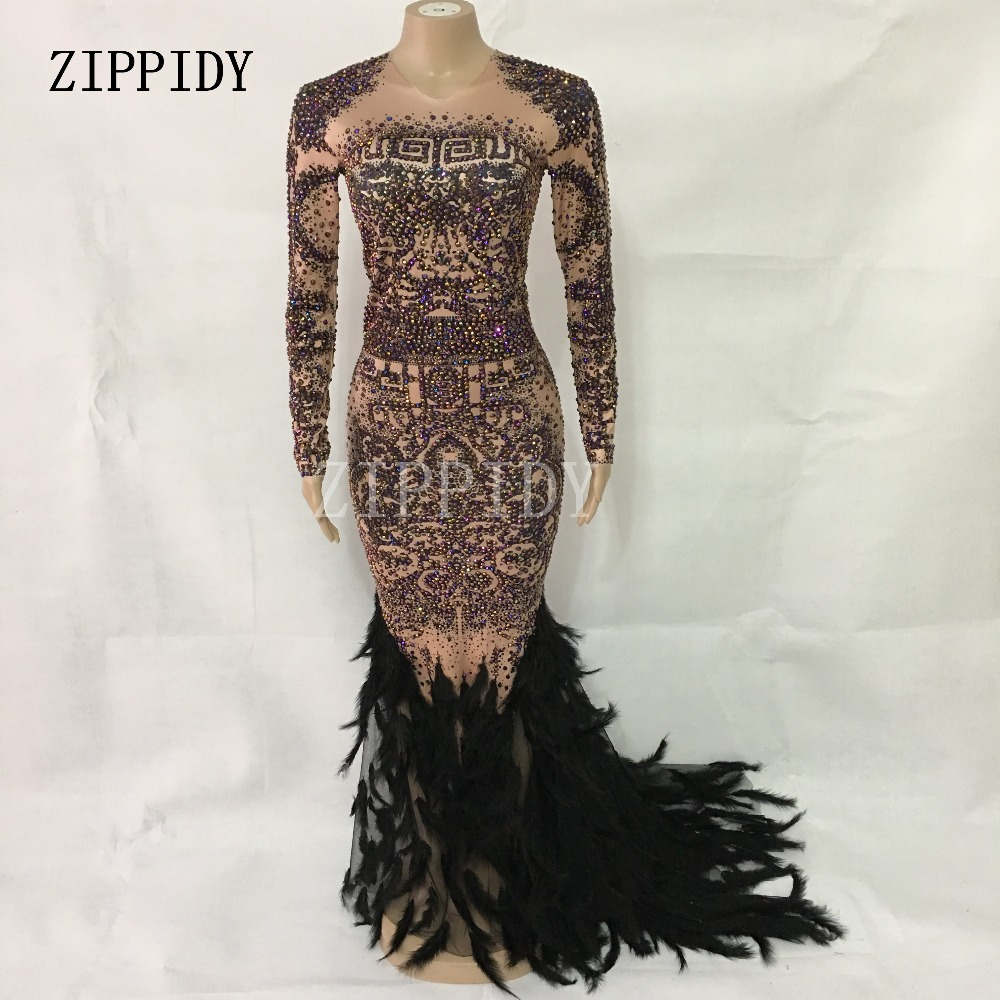 Image 2 - Sparkly Rhinestones Feather Nude Dress Sexy Nightclub Full Stones Long Big Tail Dress Costume Prom Birthday Celebrate Dresses-in Chinese Folk Dance from Novelty & Special Use