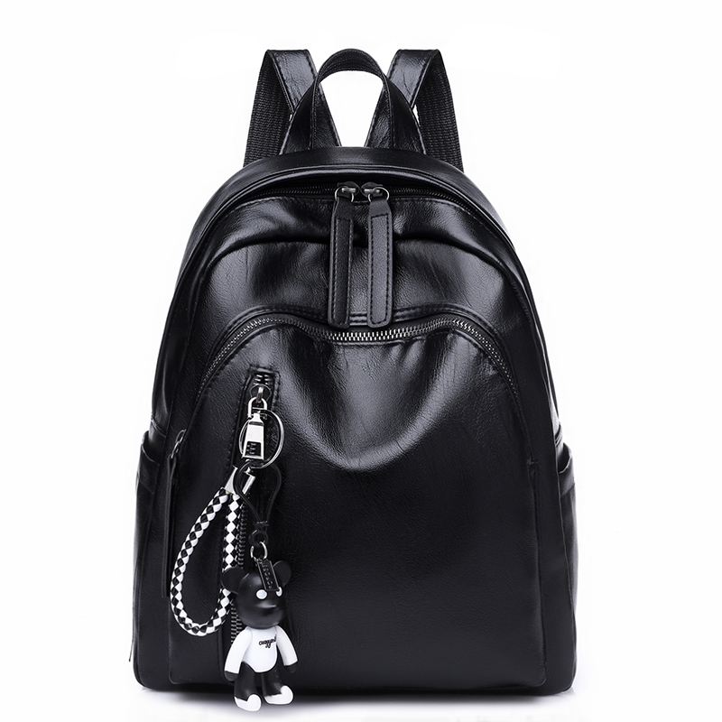 High Quality PU Leather Women Backpack Fashion Solid School Bags For Teenager Girls Large Capacity Casual Women Black Backpacks new arrival vintage men pu leather backpacks large capacity zipper solid backpack for teenagers high quality black shoulder bags