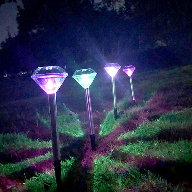 Image 3 - 10 Pack Solar Lawn Light For Garden Decoration Stainless Steel Outdoor Solar Powered Diamond Stake Lights LED Solar Lamp Lantern-in Solar Lamps from Lights & Lighting