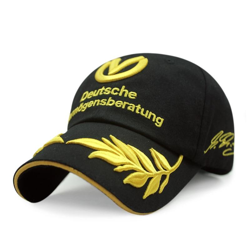 Prix pour 2016 haute qualité broderie blé casquette de baseball schumacher signé f1 racing cap gorras snapback sport en plein air hommes chapeaux casquettes