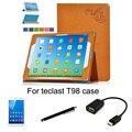 4in1 защитный Кожаный Чехол + OTG + Screen Protector + стилус Для teclast T98 4 Г 9.7 ''Tablet PC покоя I6 Воздуха 3 Г