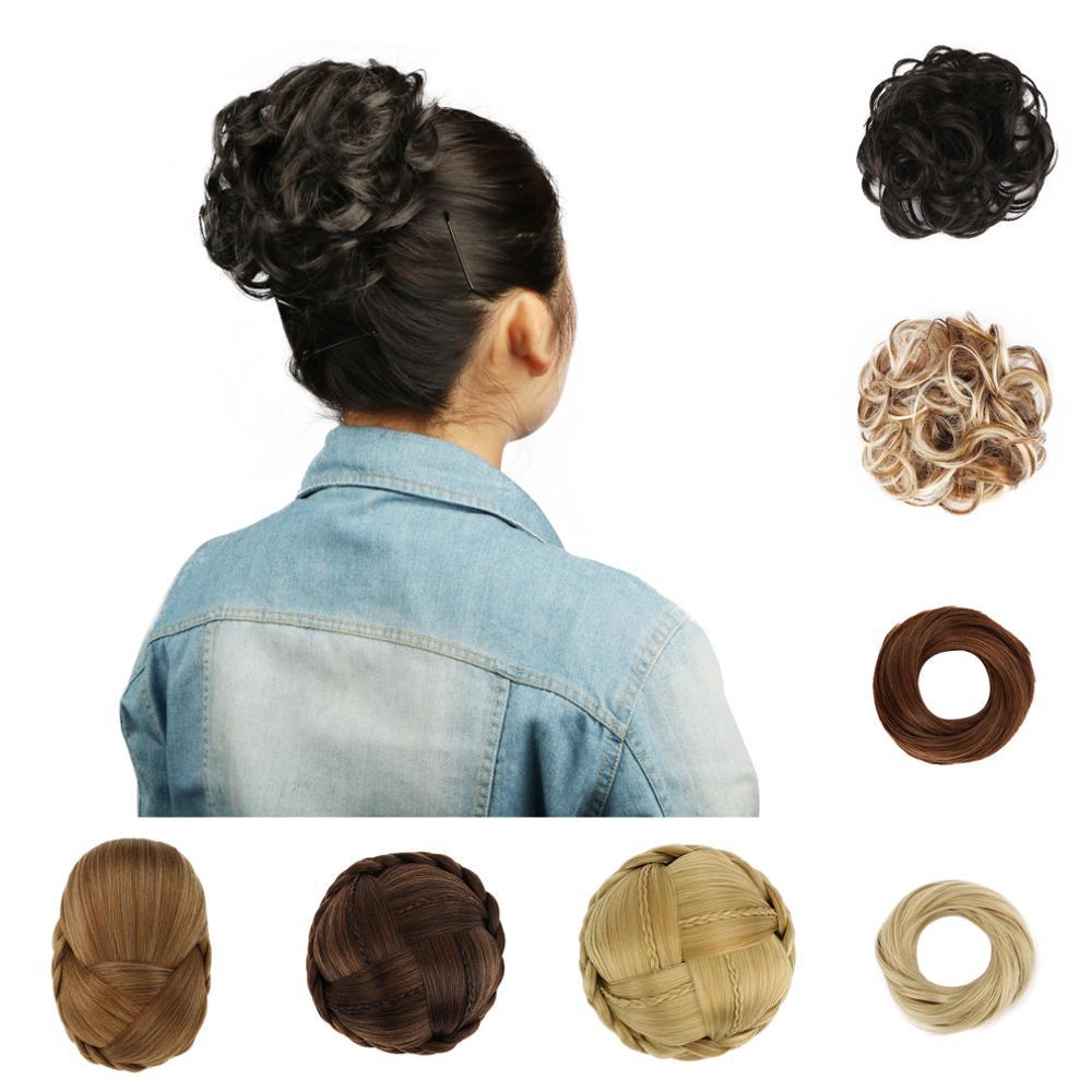 Extensão Bun cabelo Encaracolado Mulheres de Cabelo Sintético Chignon Buns Fibra Resistente Ao Calor Haar Nó Postiço Cheveux Rubber Band GS-Q5