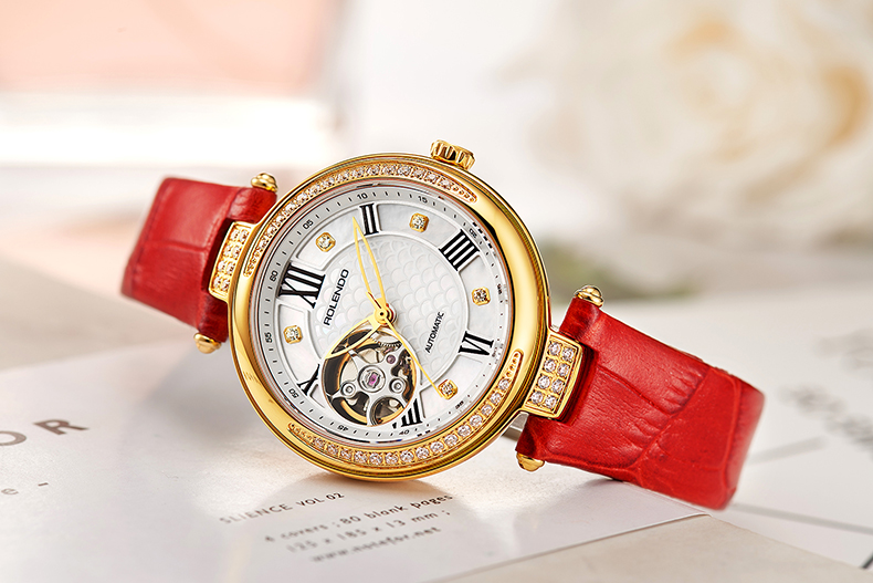 Rolendo 2018 Top Brand Luxury Hot Sale Skeleton Automatic Ladies Watch Steel Material Red Leather Women Mechanical Watches цена