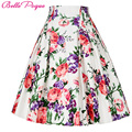 Belle Poque 50s Floral Print Skirts Womens faldas mujer 2017 Summer Pleated Plus Size Retro Pattern Casual Vintage Skater Skirt
