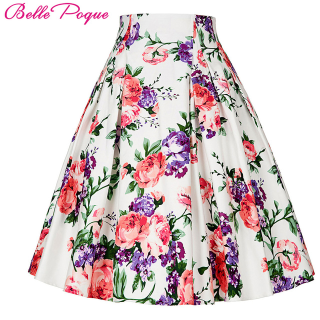 Belle Poque 50s Floral Print Skirts Womens faldas mujer 2017 Summer Pleated Plus  Size Retro Pattern Casual Vintage Skater Skirt 605bf6742395