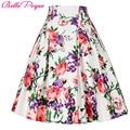 Belle poque 50 s impresión floral faldas para mujer faldas mujer 2017 verano plisado más tamaño patrón retro casual vintage skater falda