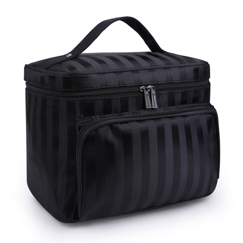 PURDORED Women Striped Cosmetic Bag Large Capacity Travel Toiletry Bag Solid Plaid Women Make Up Bag Dropshipping PURDORED Women Striped Cosmetic Bag Large Capacity Travel Toiletry Bag Solid Plaid Women Make Up Bag Dropshipping