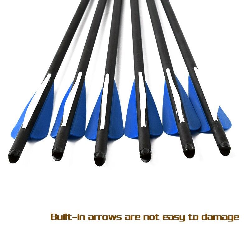 24pcs Target Arrows Crossbow Bolt 16 Inches Crossbow Carbon Arrow with 125 Grain Crossbow Arrow Broadheads 4 (2 blue 1white)