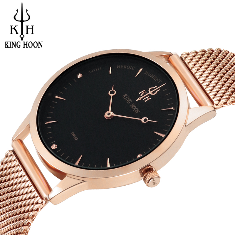 Watch Men KING HOON New Top Luxury Brand Ultra Thin Stainless Steel Mesh Band Quartz Wristwatch Fashion casual Men Watch