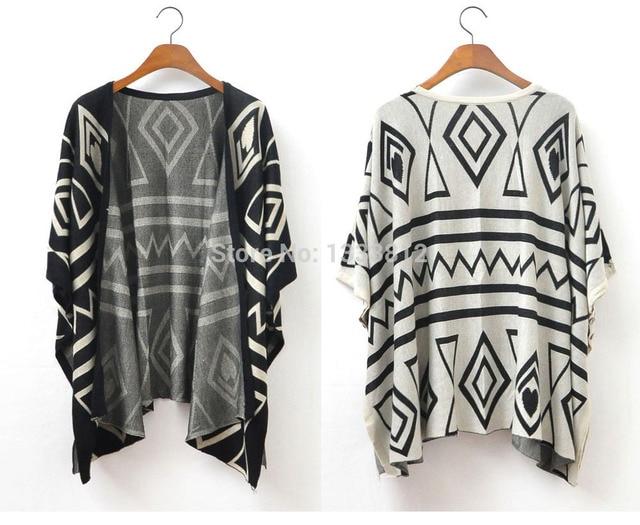 2015 Fashion New Autumn Womens Boho Aztec Geometric Pattern Batwing
