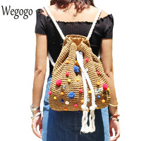 Women Crochet Straw Backpack Handmade Vines Knitting Beach String Shoulder Bag Indian Pompon Woman Drawstring Bags Sac a dos
