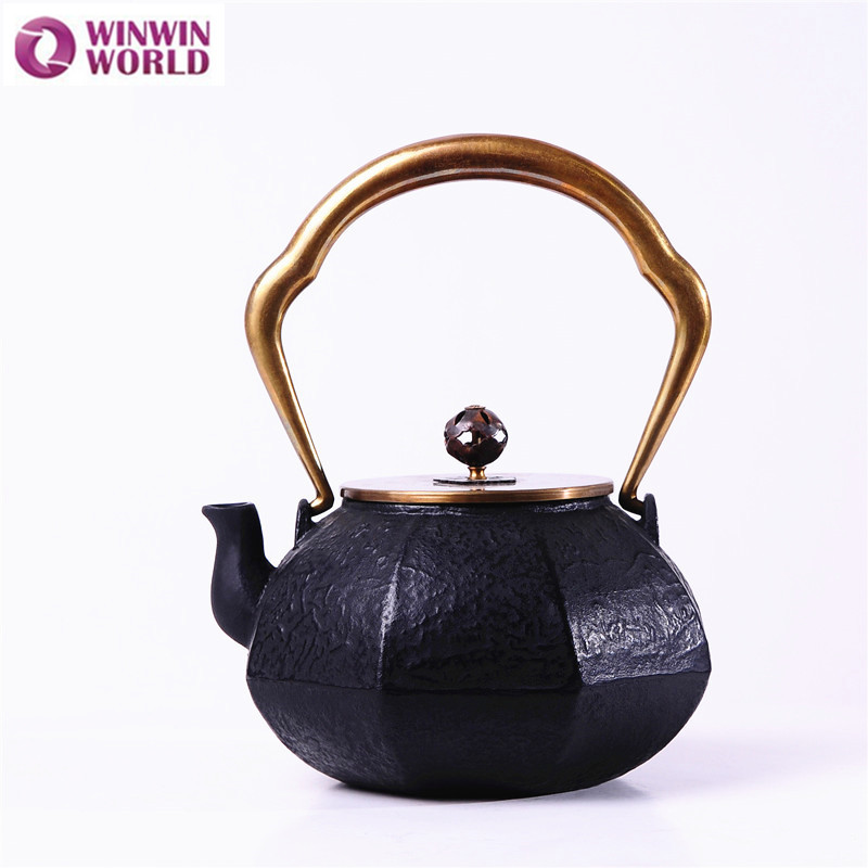 1 2l cast iron teapot cookware with infuser 42oz japanese black old metal tea pot kettle with - Japanese teapot with infuser ...