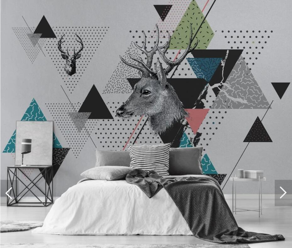 Nordic Abstract Geometric ELK Wallpaper Mural For Living Room Home Wall Decor Wall Paper Rolls Contact Paper  3d Wall Murals