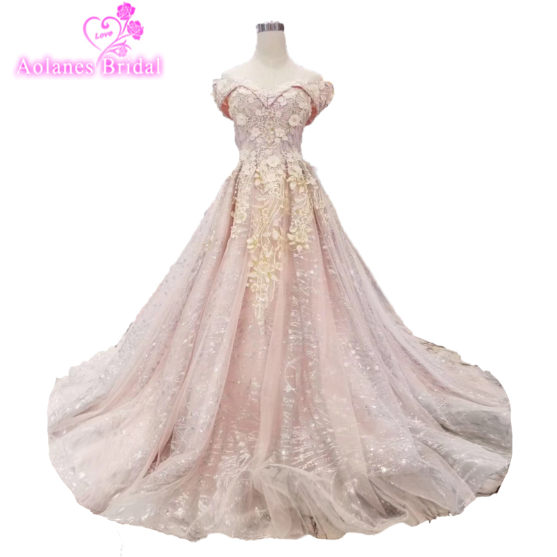 Pretty Blush Pink Long Prom Dresses 2018 Arabic Beaded Crystal Tulle Prom Gowns Deep Glitters Blings Formal Dress Abendkleider