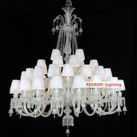 Ballroom 24 44 Pcs Vast Lustres De Cristal Lamp French Large Great Crystal Chandelier For Living