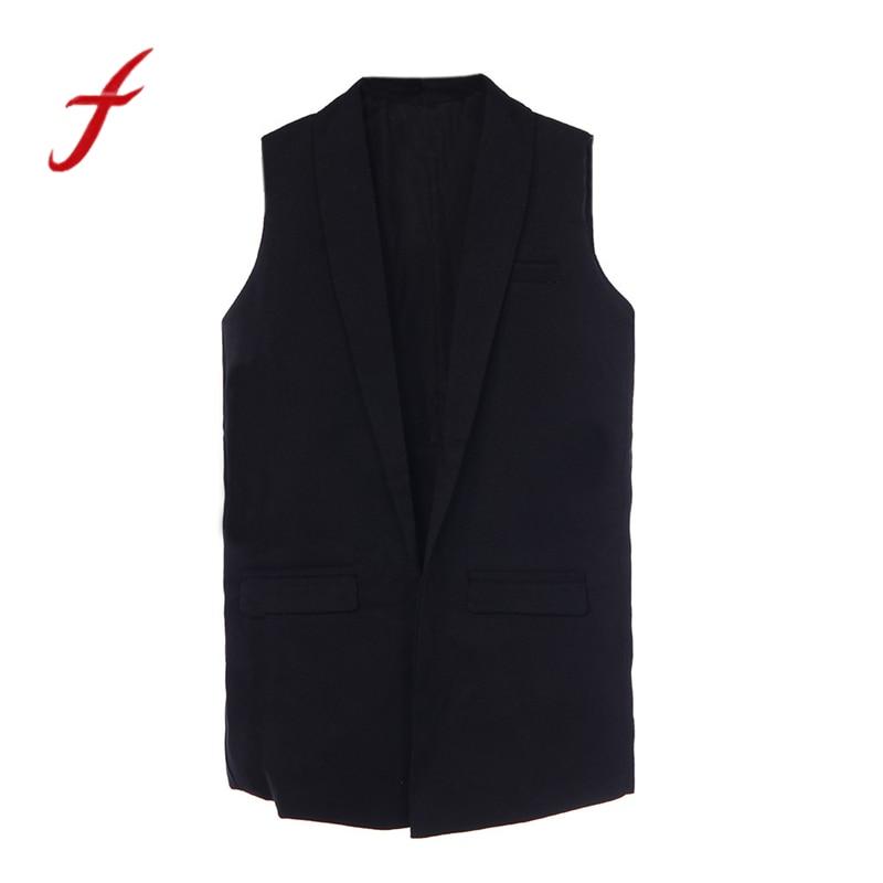 feitong 2020 New Fashion Blazers Women Spring Fashion Pocket Sleeveless Cardigan Vests Jacket Casual Harajuku Vest