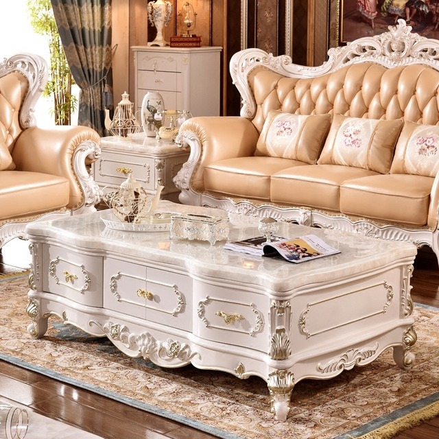 Gold And White Marble Coffee Table.Us 2519 0 Continental White Marble Coffee Table Champagne Gold Two Door Solid Wood Square 1 3 M Teasideend In Coffee Tables From Furniture On