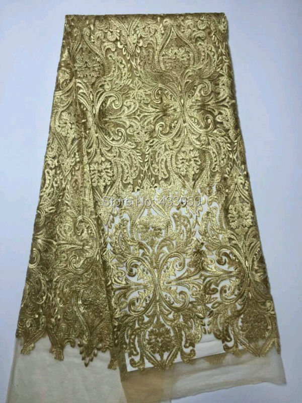 Contemplative Adf209 High Quality Dubai Lace Fabrics 5 Yards African French Net Lace Fabric Embroidered Tulle Mesh Fabric Gold Home & Garden