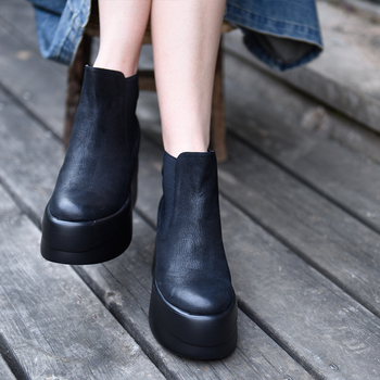 Artmu Original Thick Sole Women Boots Platform Genuine Leather Handmade Chelsea Martin Boots Ankle Boots 8120-3J