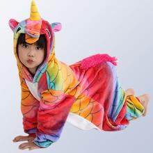 Купить с кэшбэком Children's Onesies for Boys Girls Pajamas Unicorn Winter Pyjamas Kids Cartoon Sleepwear Animal Licorne Pijamas for 4-12 Y