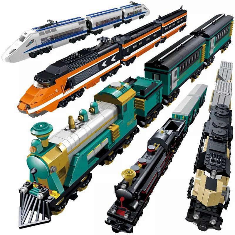 2018 Новый LegoING городской поезд с приводом от двигателя дизельный железнодорожный поезд грузовой с набор треков модель технологические строительные блоки игрушки для детей
