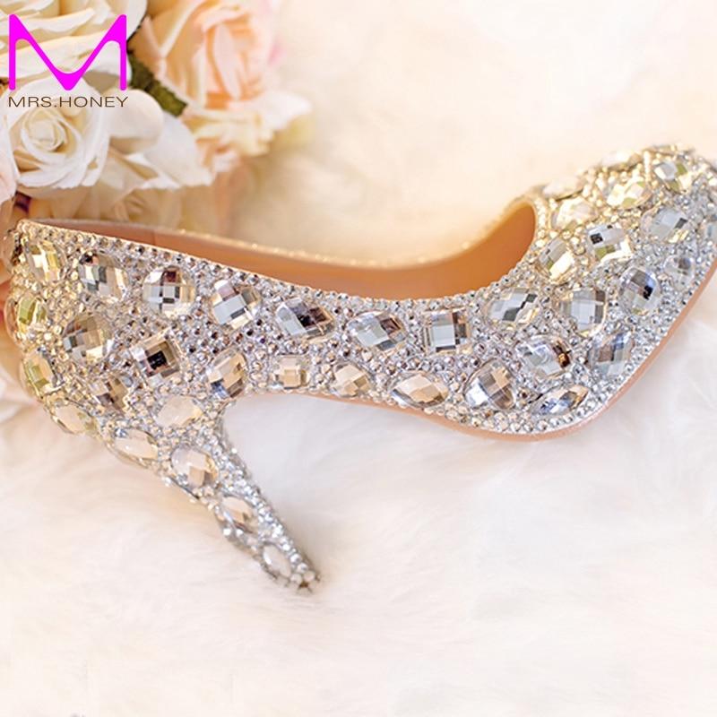 silver wedding shoes clear rhinestone platform closed toe 3 bridal shoes crystal pumps european