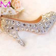 "Silver Wedding Shoes Clear Rhinestone Platform Closed Toe 3 "" Bridal Shoes Crystal Pumps European Party Prom Heels All Size"