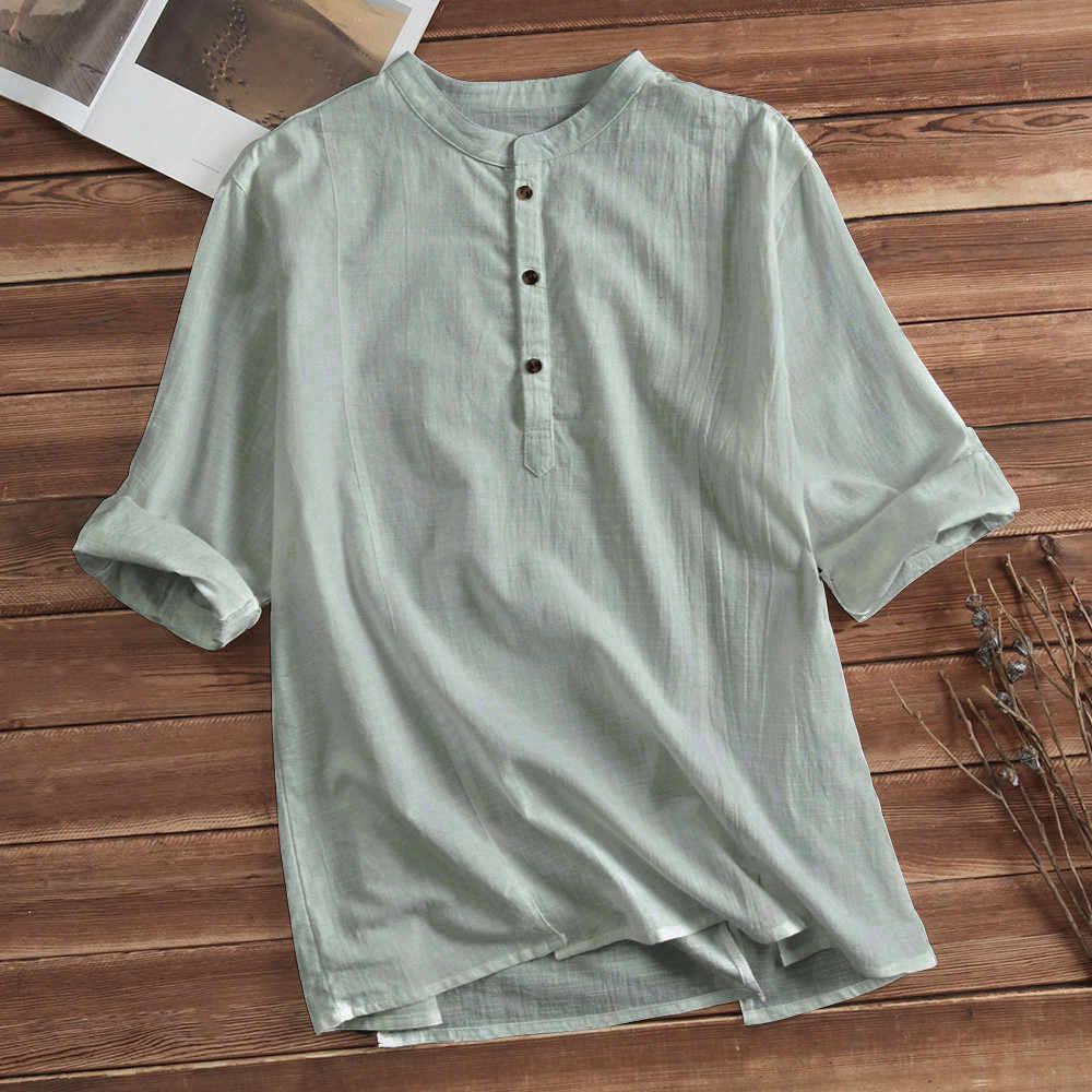 34e7efaebe0 ... Mens Cotton Linen Shirts Casual Long Sleeve Stand Neck Tops Loose  Blouse men clothes 2018 men