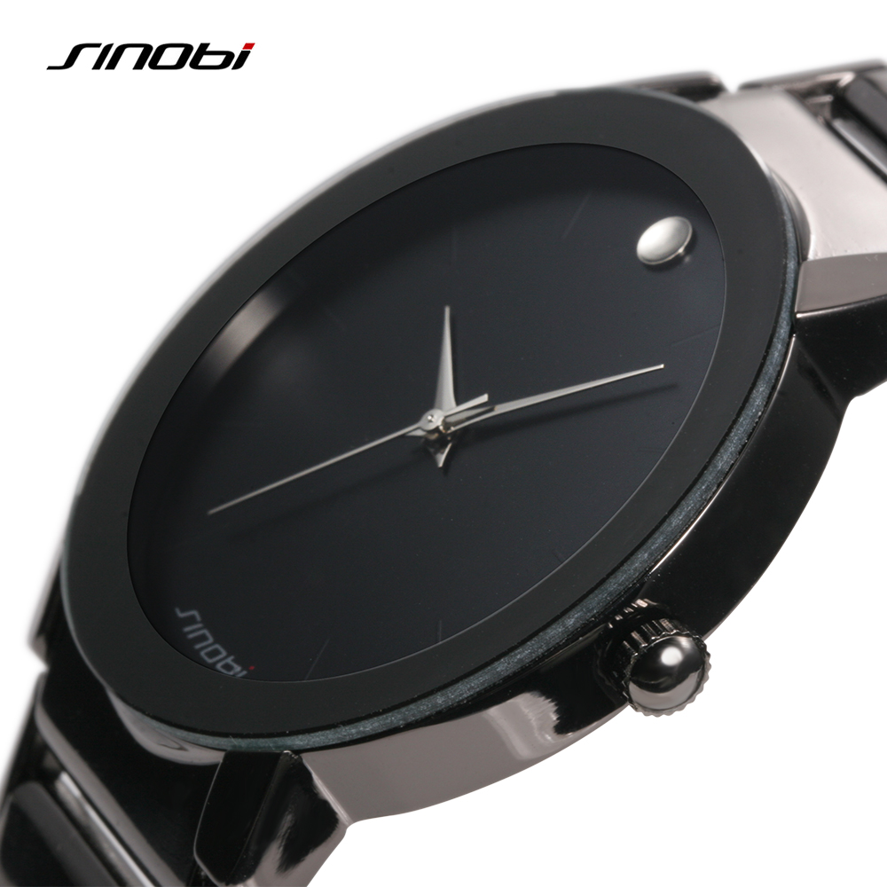 Sinobi Mens Watch Quartz Stainless Steel Analog Water Resistant Black Watch Men Casual Luxury Brand Reloj