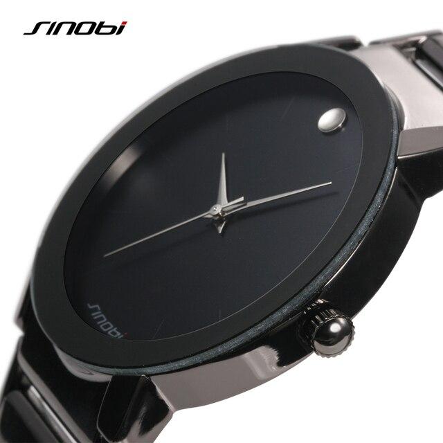 Sinobi Mens Watch Quartz Stainless Steel Analog Water Resistant Black Watch Men Casual Luxury Brand Reloj Hombre Wristwatch Mens