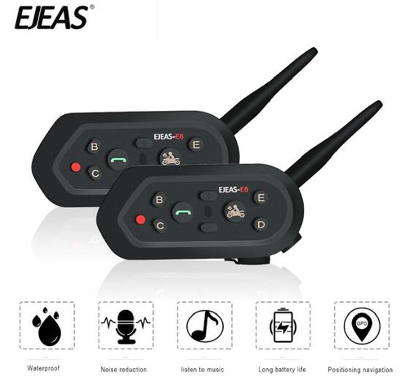 EJEAS 2PCS Helmet Headset Motorcycle Intercom Bluetooth Interphone Moto Helmet Intercom Motorcycle Moto Intercom For 6 Riders