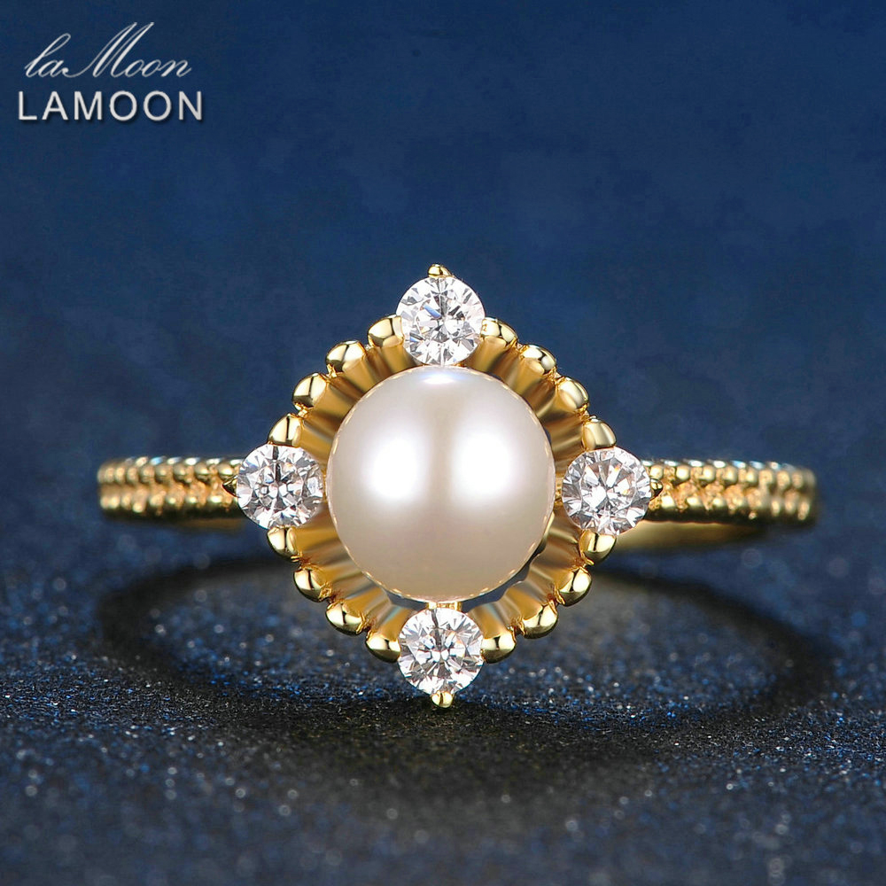 LAMOON Fashion Jewelry Adjustable 6.5mm Natural Freshwater Pearl Rings For Women 925 Sterling Silver Fine Jewelry Ring RI028
