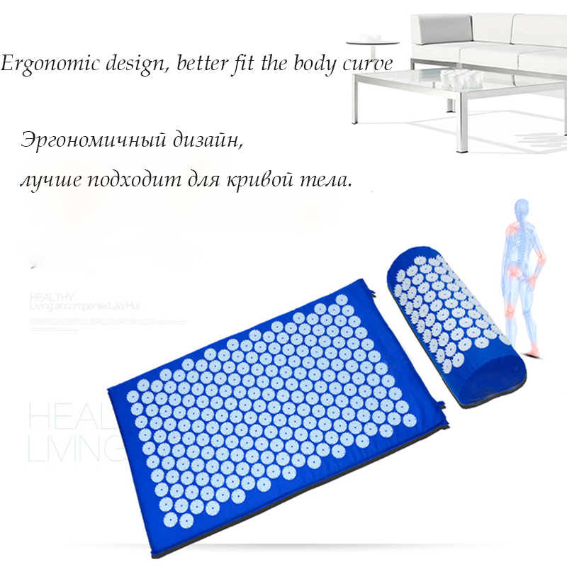 Fitness Equipment Acupuncture Spike Yoga Mat With Pillow for Muscles Relieve the Stress Pain of Neck Head Back Massage Relax new arrival neck massage roller acupressure cervical massage ball relieve the pain of neck soothing neck muscles