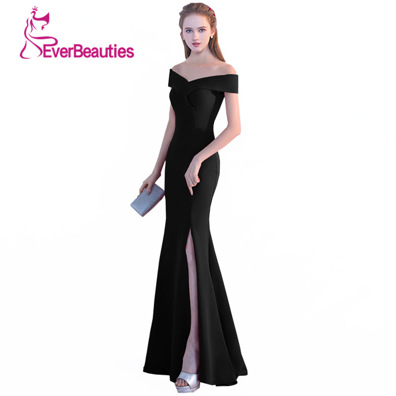 1d8aa5ee0524 Mermaid Evening Gowns 2019 Black Prom Dress Sexy Side Split Long Evening  Dresses V Neck Robe