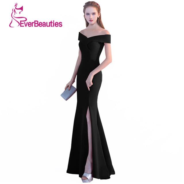 Sereia Vestidos de Noite 2018 Vestido de Baile Preto Sexy Side Dividir Longos Vestidos de Noite V Neck Robe De Soiree Avondjurk