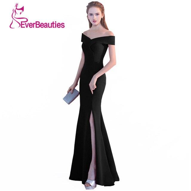 479d607bde Suknia wieczorowa rozkloszowana na dole 2019 czarna sukienka na studniówkę  Sexy Side podział długie suknie wieczorowe