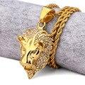 Titanium Стали Король Лев Ожерелье Женщины Мужчины Ювелирные Изделия Подарки Золото Позолоченные Хрустальная Корона Цепи Bling Горный Хрусталь Подвески