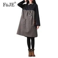 F JE 2017 Autumn Winter New Arts Style Women Loose Long Sleeve Knee Length Dress High