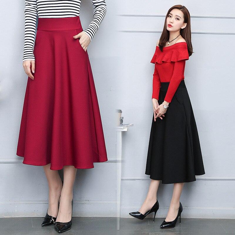 2018 spring skirts summer female new skirt school wind high waist slim pleated fashion a word skirt long women